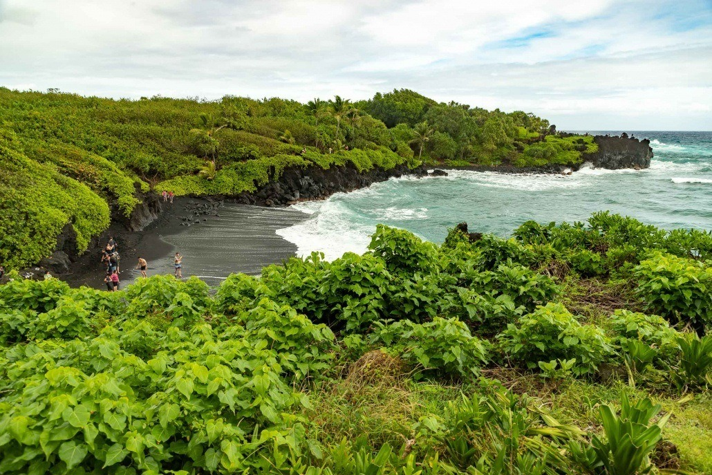 Black Sand Beach Overlook Waianapanapa Road to Hana Maui
