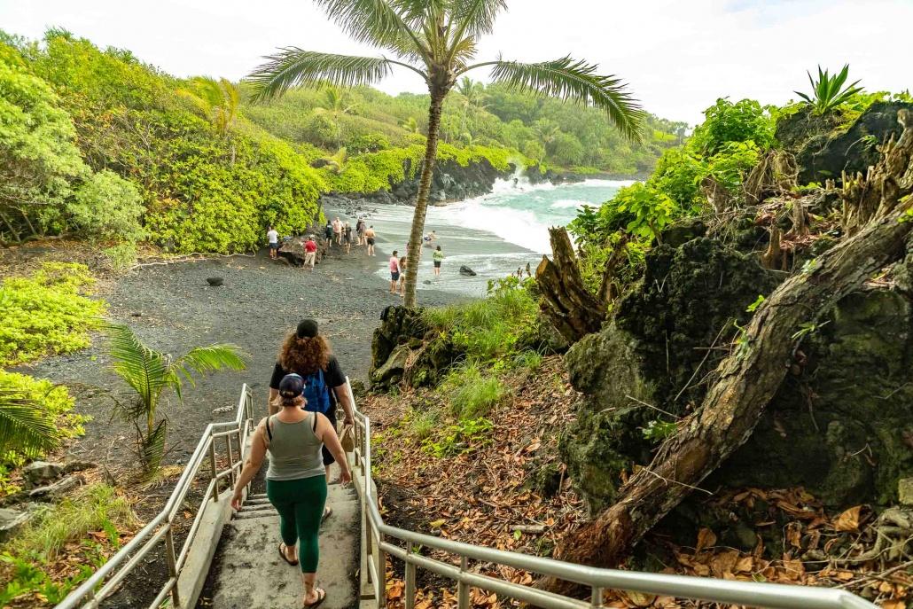 Black Sand Beach Stairs to Beach and visitors Waianapanapa Road to Hana Maui