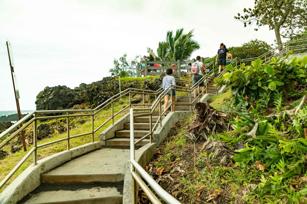 Black Sand Beach Stairs to Overlook Waianapanapa Road to Hana Maui