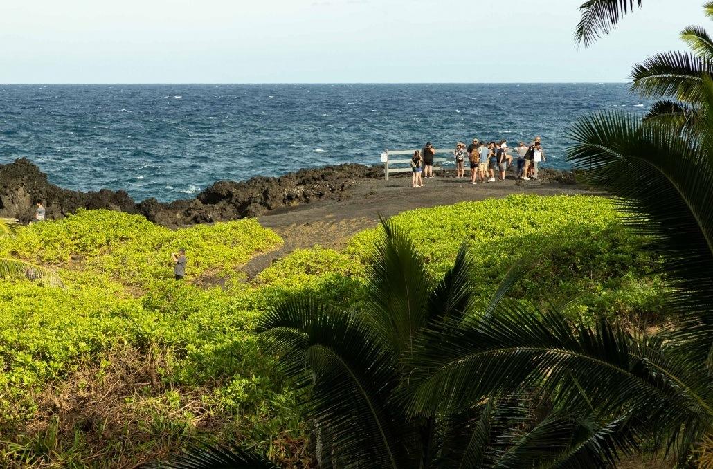 Black Sand Beach Waianapanapa Blowhole visitors Road to Hana Maui