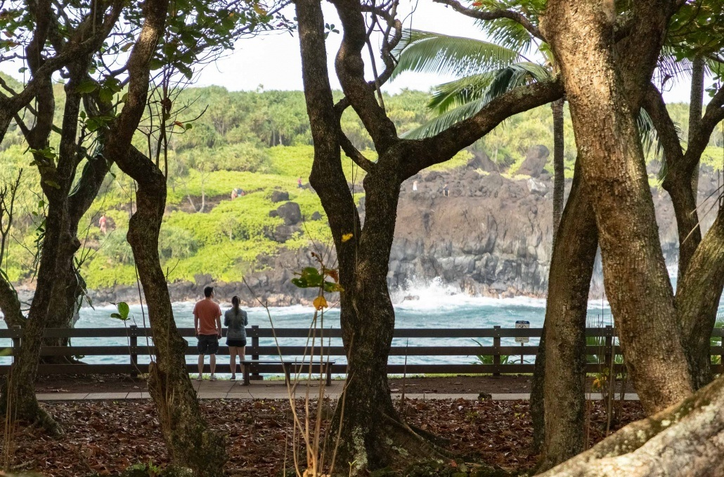 Black Sand Beach Waianapanapa Trail Railing and Visitors Road to Hana Maui
