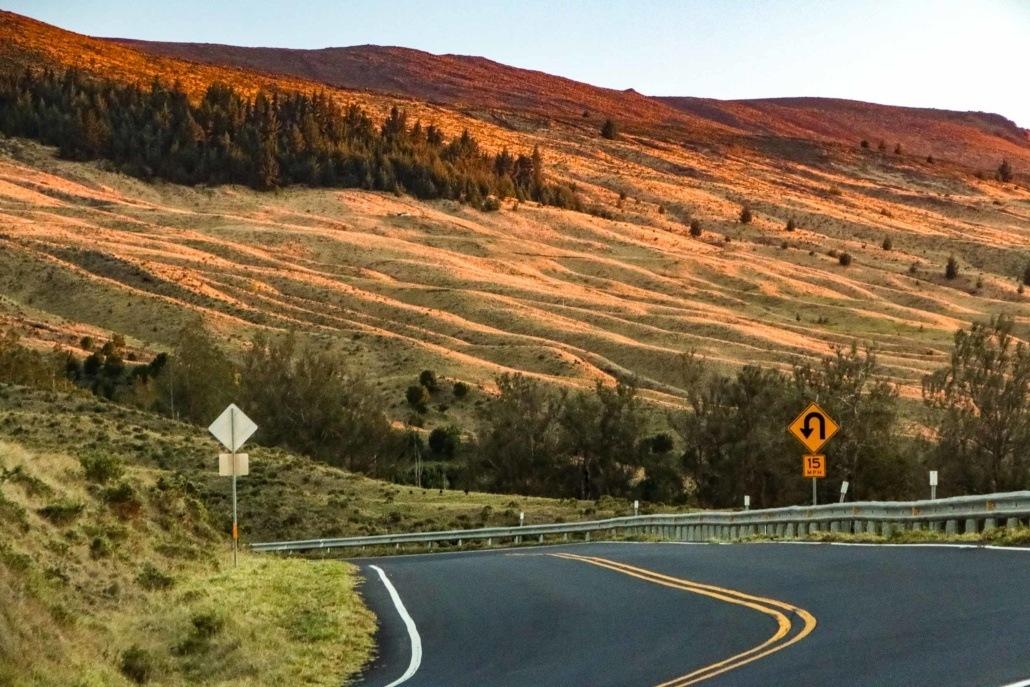 Haleakala Crater Road Curve Sign Maui