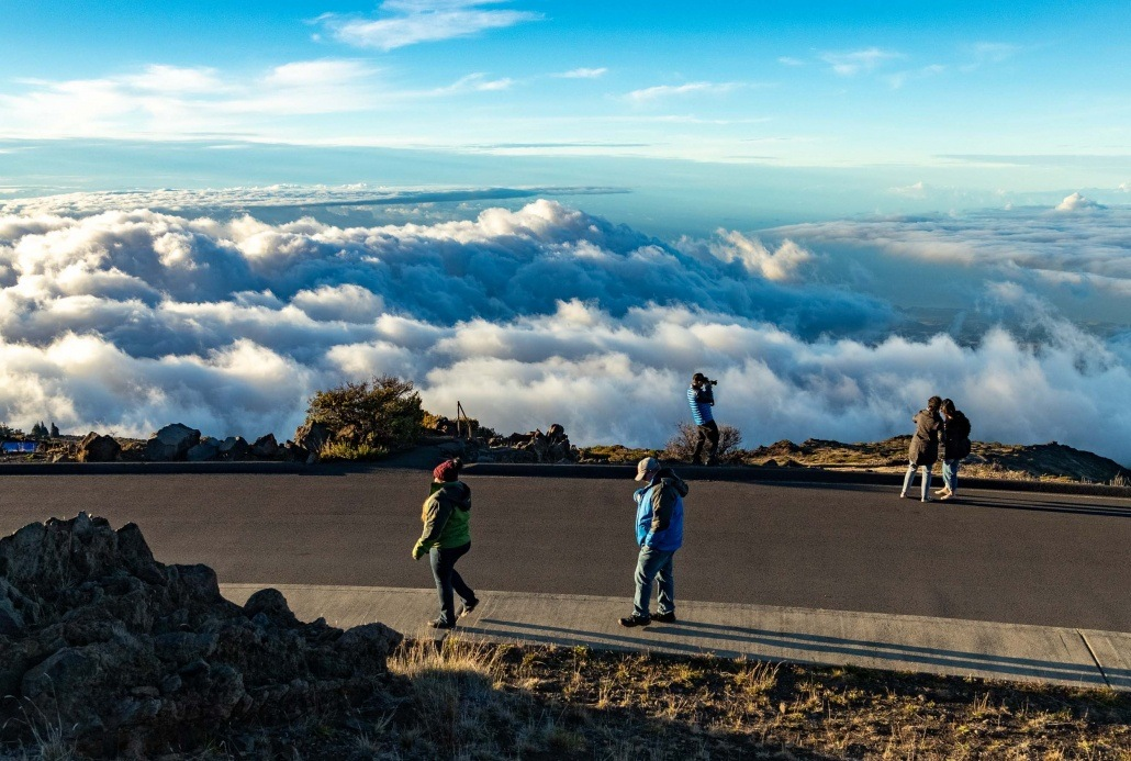 Haleakala National Park Visitors at Overlook clouds Maui