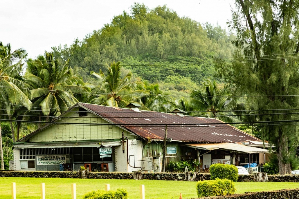 Hasegawa Store and Kauiki Hill Hana Town Maui