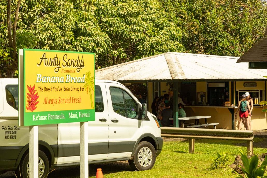 Keanae Peninsula Aunty Sandy Banana Bread Shop and Sign Road to Hana Maui