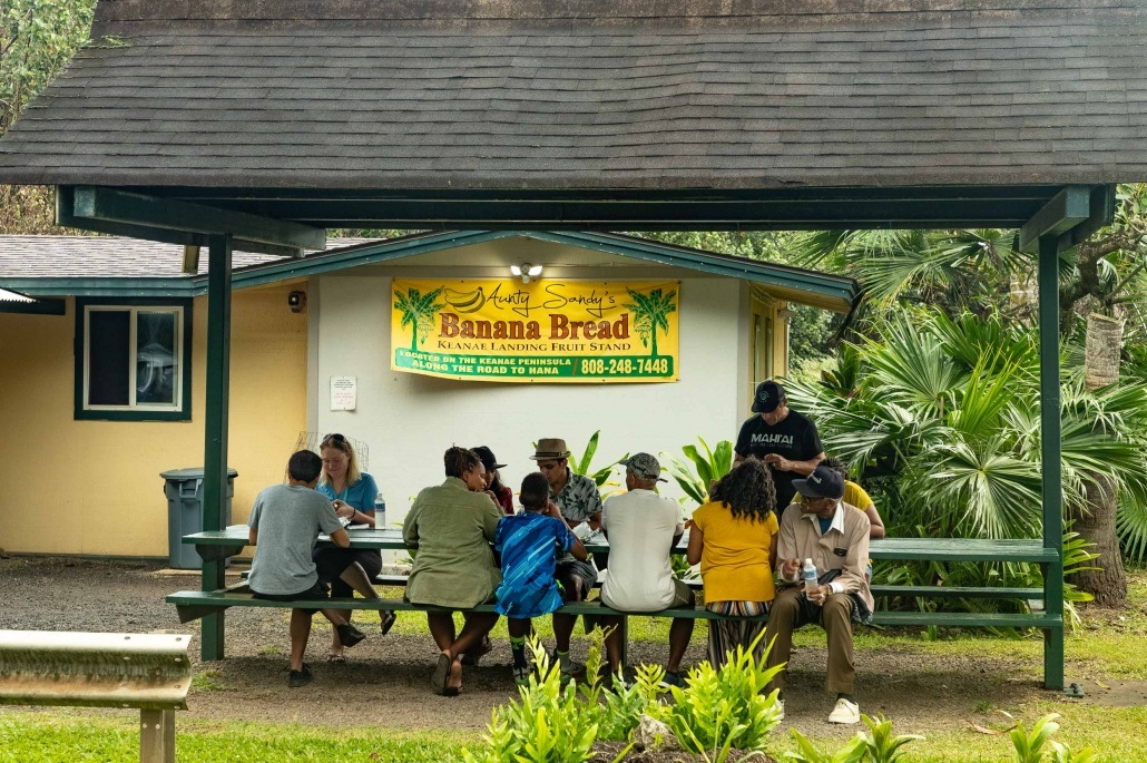 Keanae Peninsula Banana Bread Visitors at Table Road to Hana Maui
