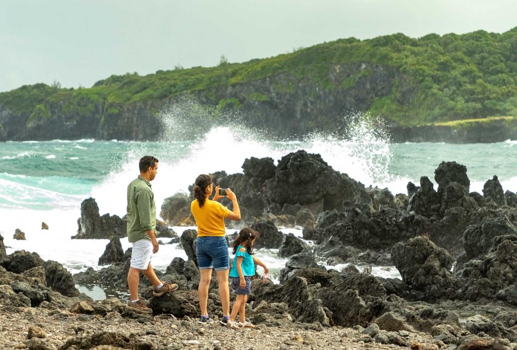 Keanae Peninsula Visitor Family Child Waves Road to Hana Maui