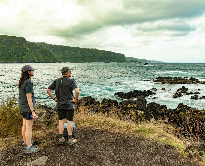 Keanae Peninsula Visitors and Coastline Road to Hana Maui