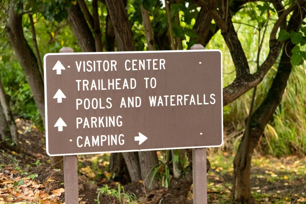 Pools of Oheo Directions Sign Kipahulu road to Hana Maui