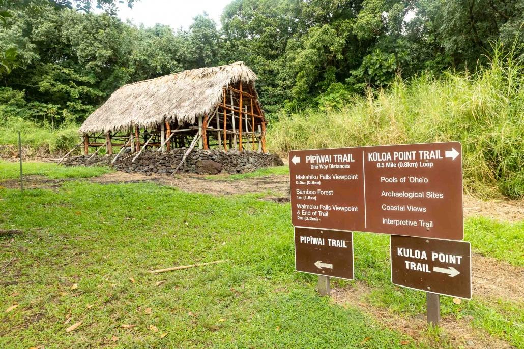 Pools of Oheo Trail Signs and Hale Building Kipahulu road to Hana Maui