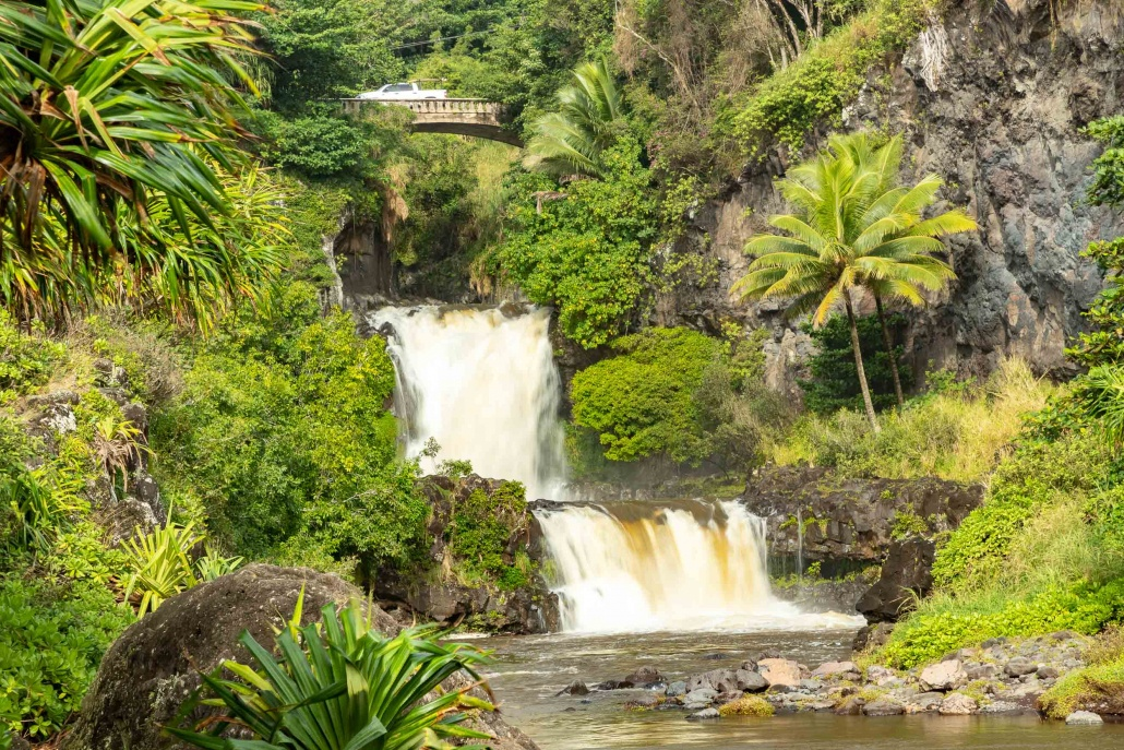 Pools of Oheo Waterfalls Bridge and Car Kipahulu road to Hana Maui