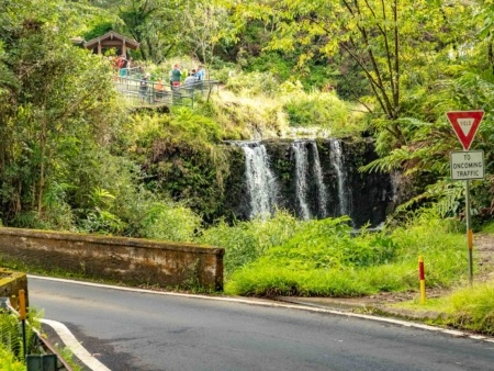 Puua Kaa Wayside Park Lower Waterfall and Bridge Road to Hana Maui