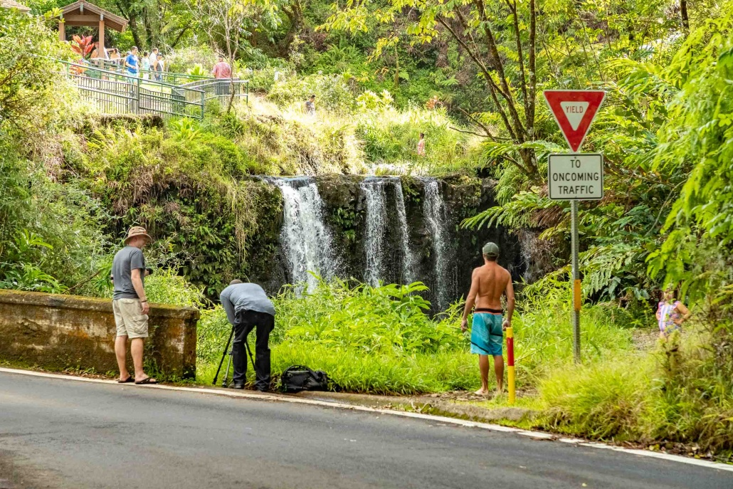 Puua Kaa Wayside Park Lower Waterfall visitors Road to Hana Maui