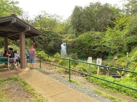 Puua Kaa Wayside Park Picnic Visitors and Watefall Road to Hana Maui