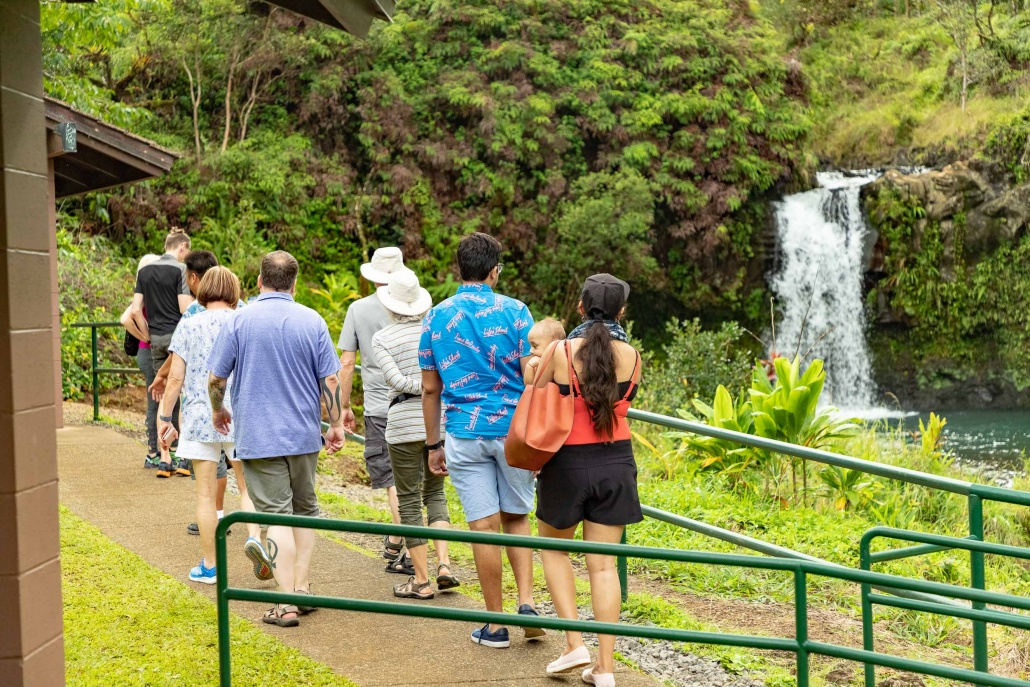 Puua Kaa Wayside Park Visitors and Waterfall Road to Hana Maui