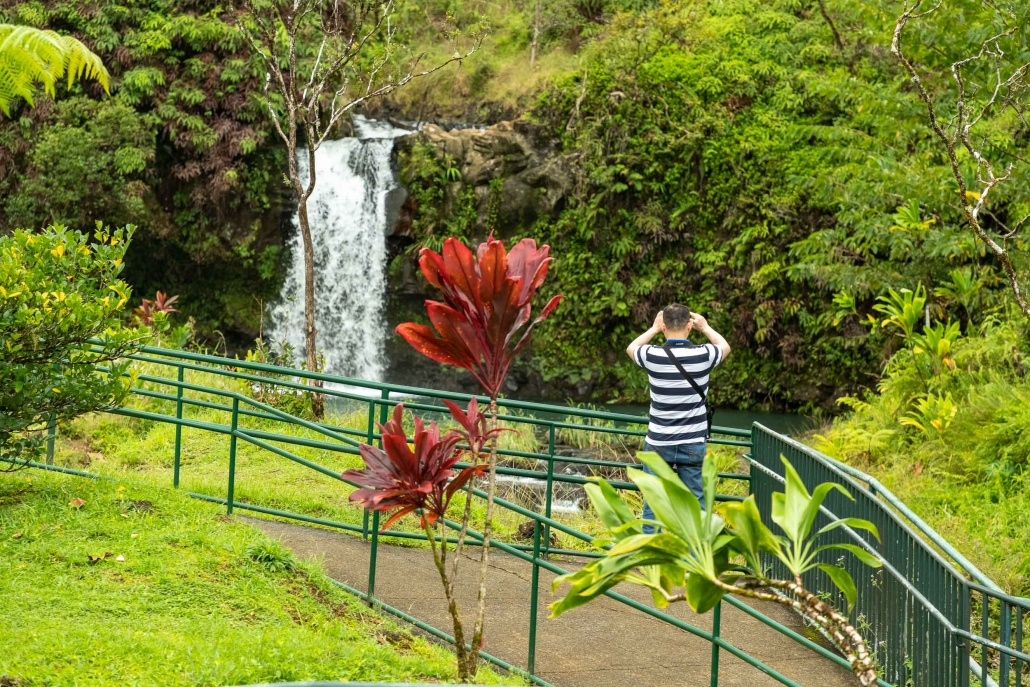 Puua Kaa Wayside Park Waterfall Railing and Visitor Road to Hana Maui