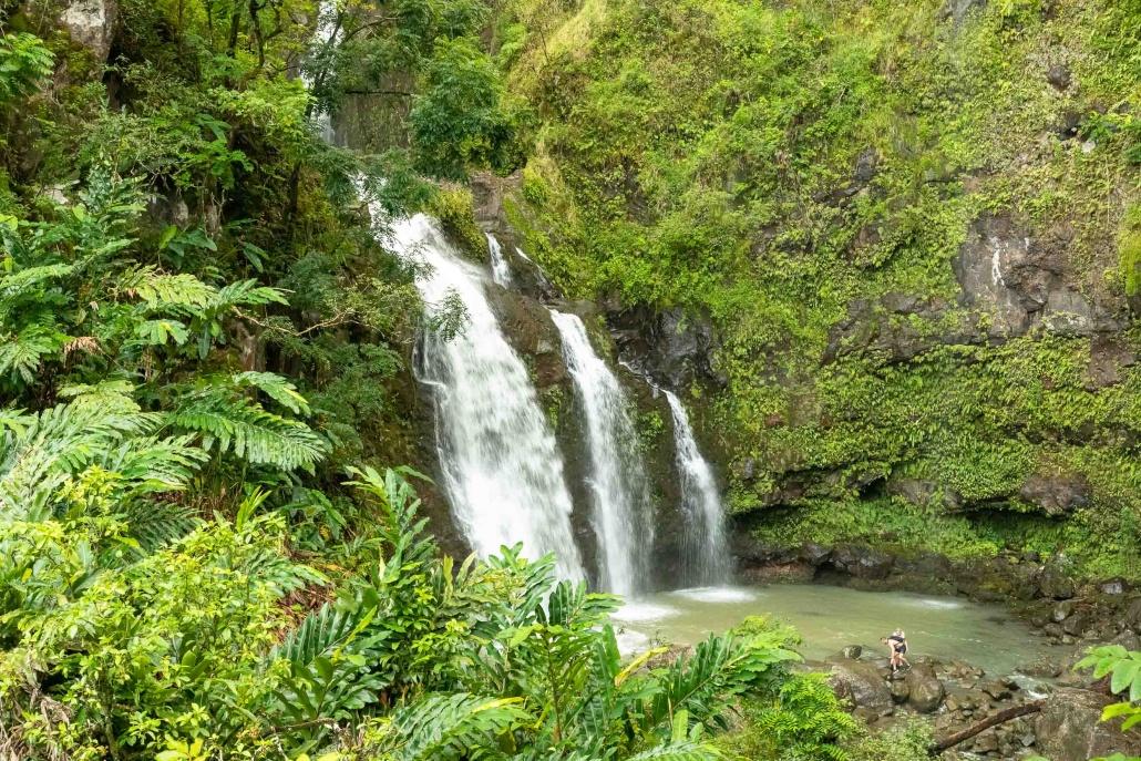 Road To Hana Three Bears Watefall and Hikers Maui