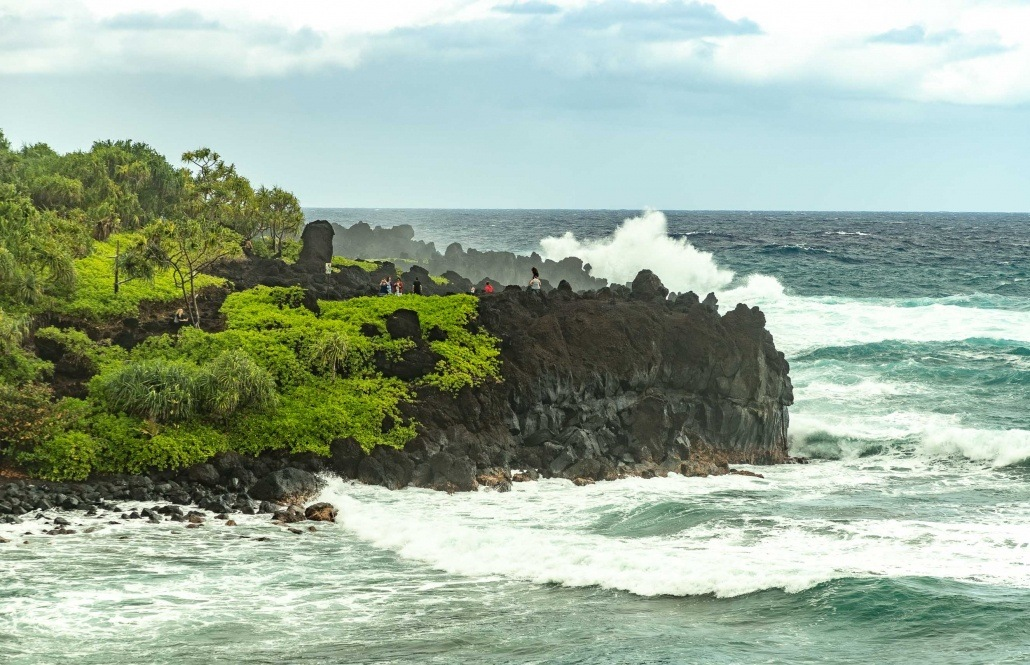 Road to Hana Black Sand Beach Cliff and Waves Waianapanapa Maui