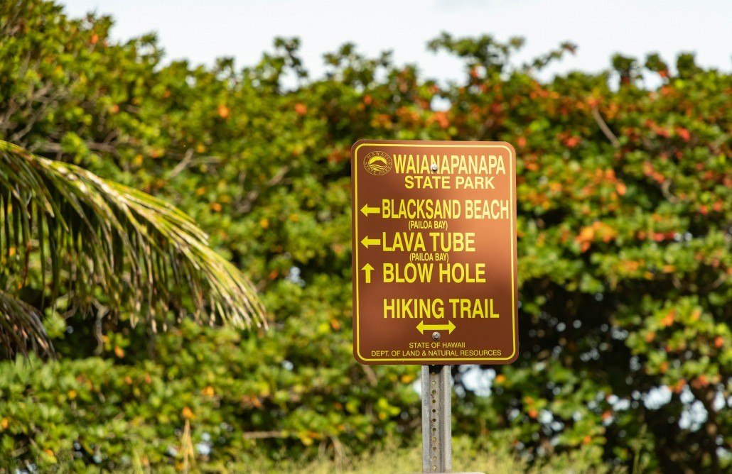 Road to Hana Black Sand Beach Direction Sign Waianapanapa Maui