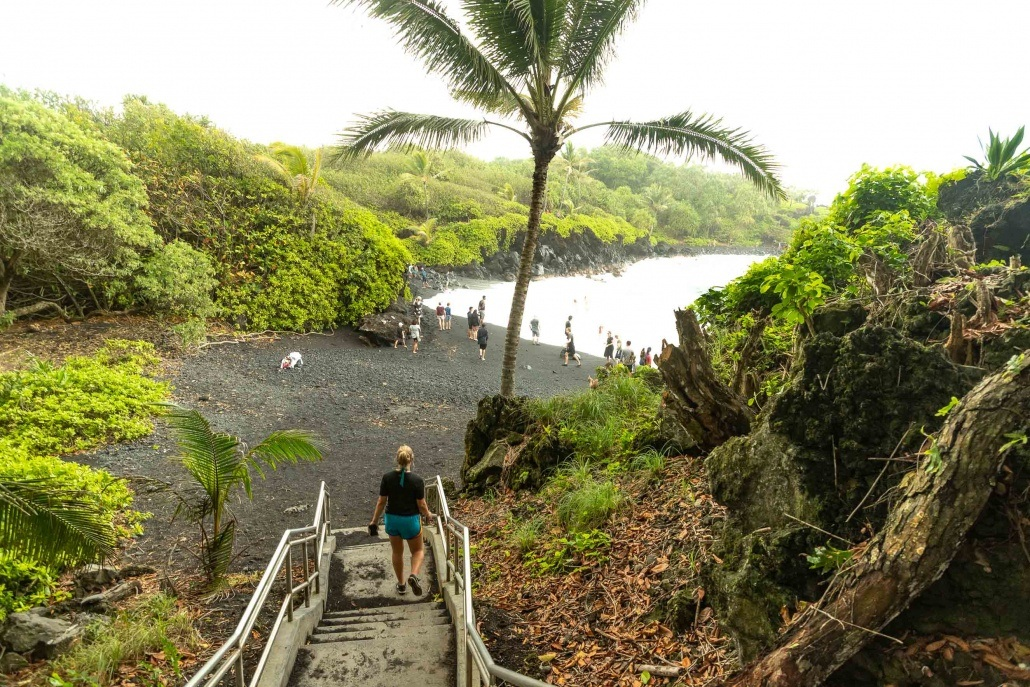 Road to Hana Black Sand Beach Entrance Stairs Waianapanapa Maui