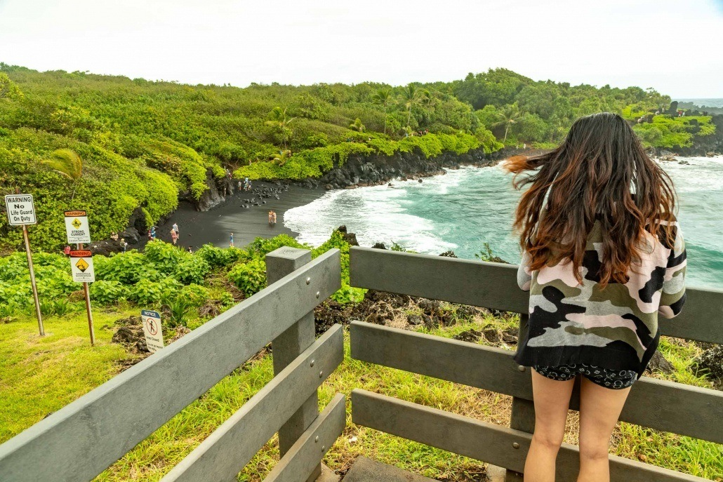 Road to Hana Black Sand Beach Overlook Railing Waianapanapa Maui