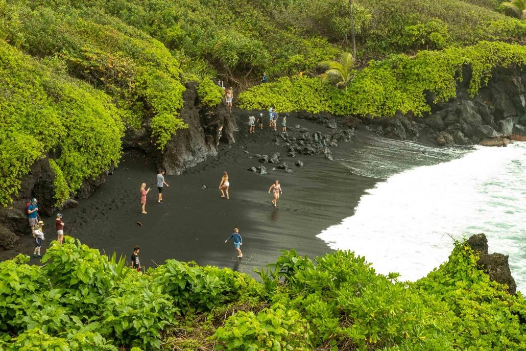 Road to Hana Black Sand Beach from Overlook Waianapanapa Maui