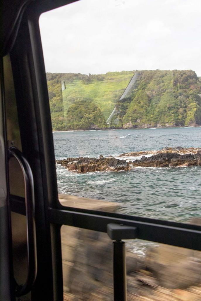 Hawaiian Style Bus Window Looking Out