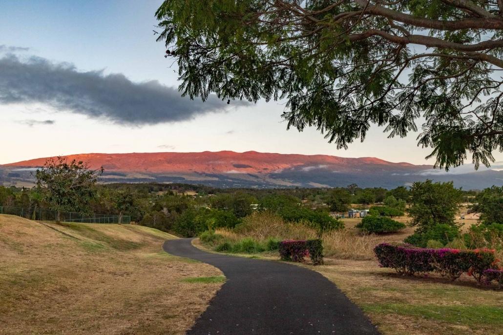 A path at Kulamala Park seeming leads to a Haleakala at sunset