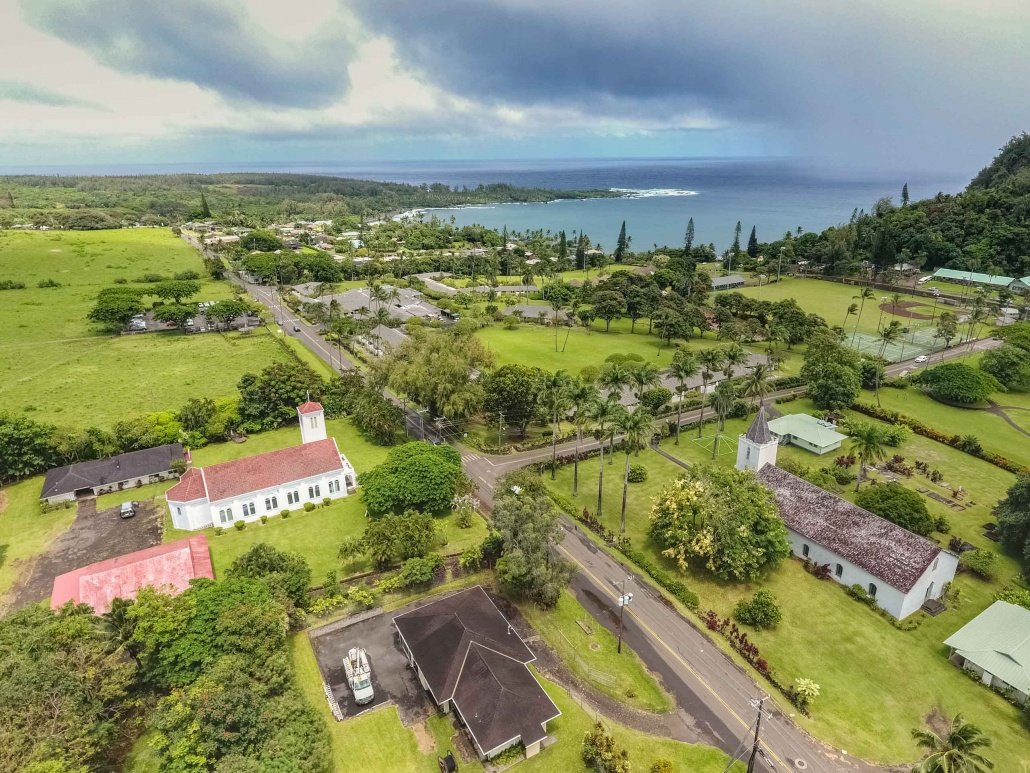Hana Maui Town from air overview