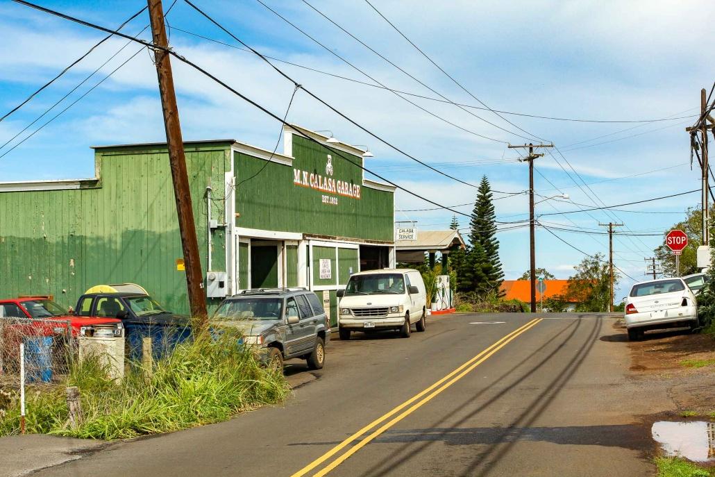 A narrow street leads to Calasa Gas station in Kula