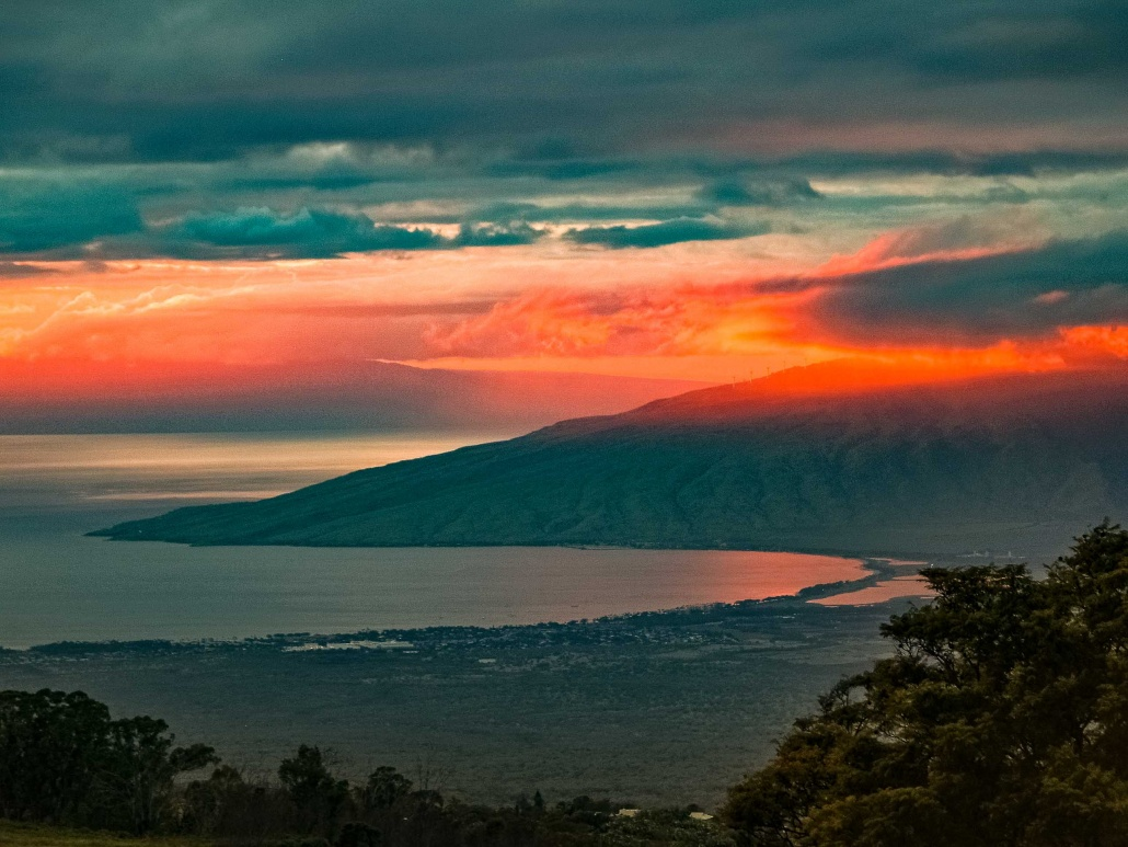 a stunning sunset from upcountry Maui