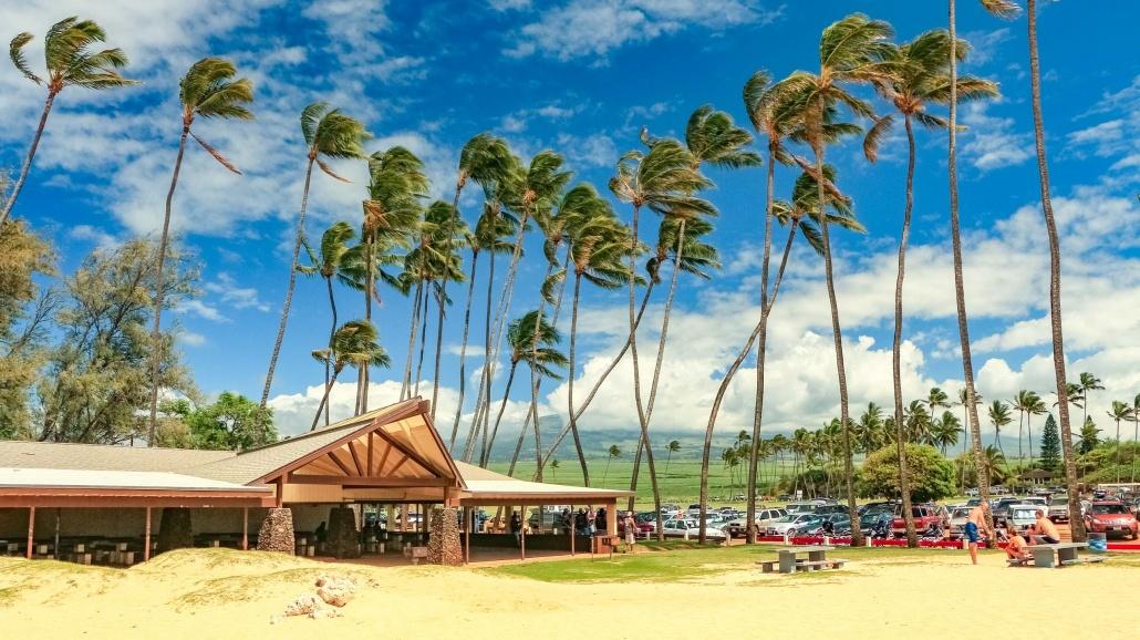 Beach pavilions are community centers on Maui's north shore