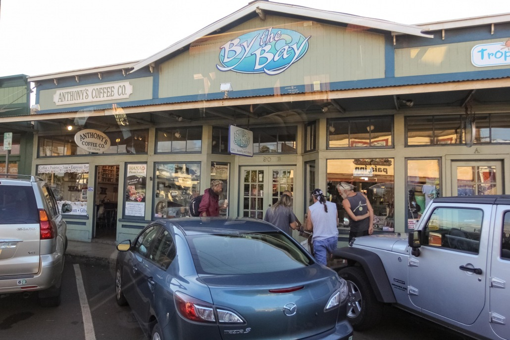 Locals stop for coffee early in Paia