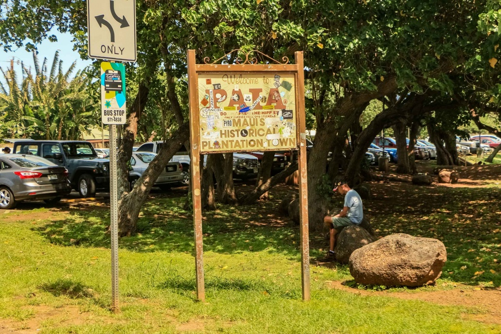 The sign seen when entering Paia from the west