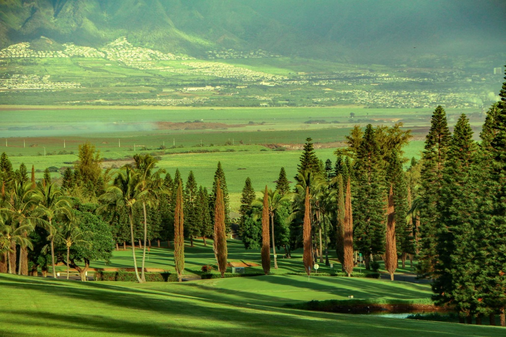 The beautiful views of Maui's central plains can be seen from Pukalani
