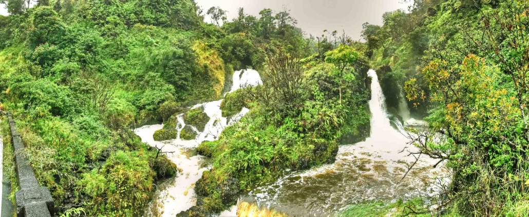 multiple waterfalls at flood stage along Hana highway