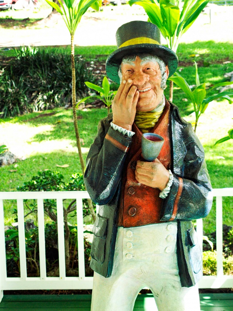 Wood carving of drunk man 1800's style
