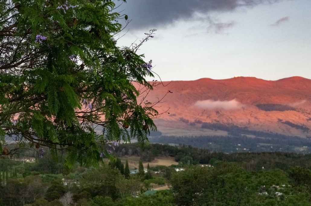 Alpine glow covers the summit of Haleakala seen from upper Pukalani