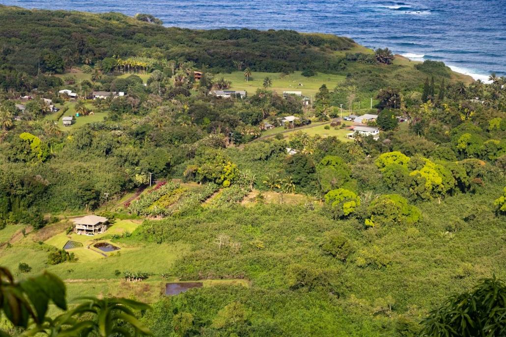 the town of Wailua sits at the edge of east Maui's coastline