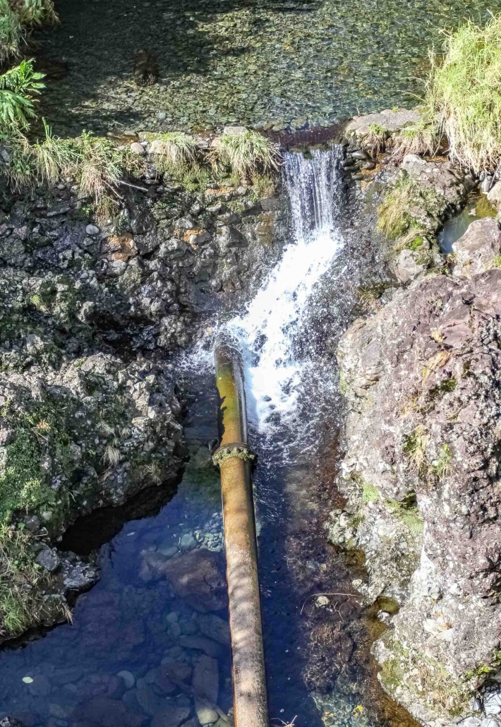 Water is diverted from east Maui stream with a pipe