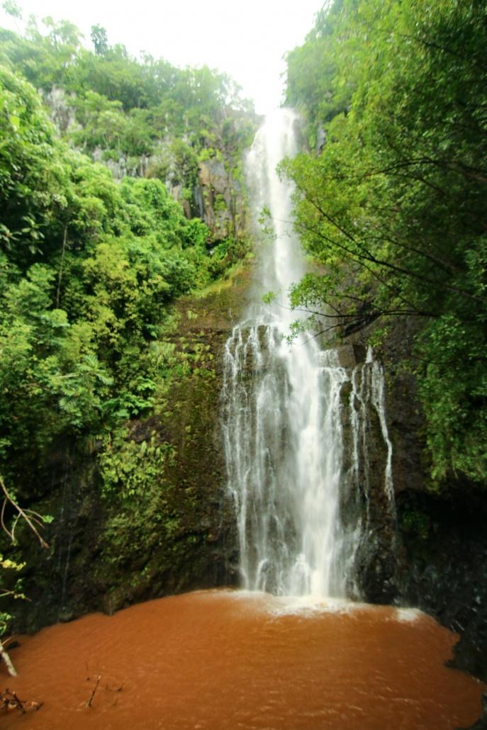 storm runoff muddies a Hana waterfall pool
