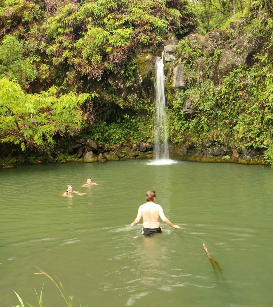 Family takes a swim in a waterfall pool Hana Maui