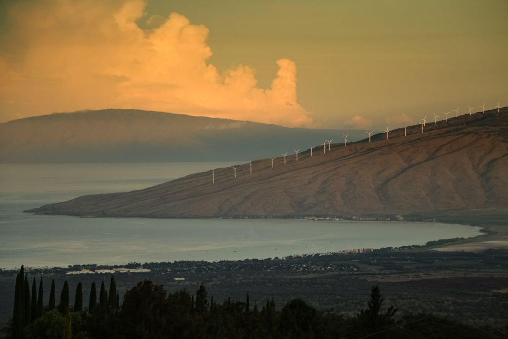 This sunrise in Kula shows Kihei, West Maui Mountains and the island of Lana'i